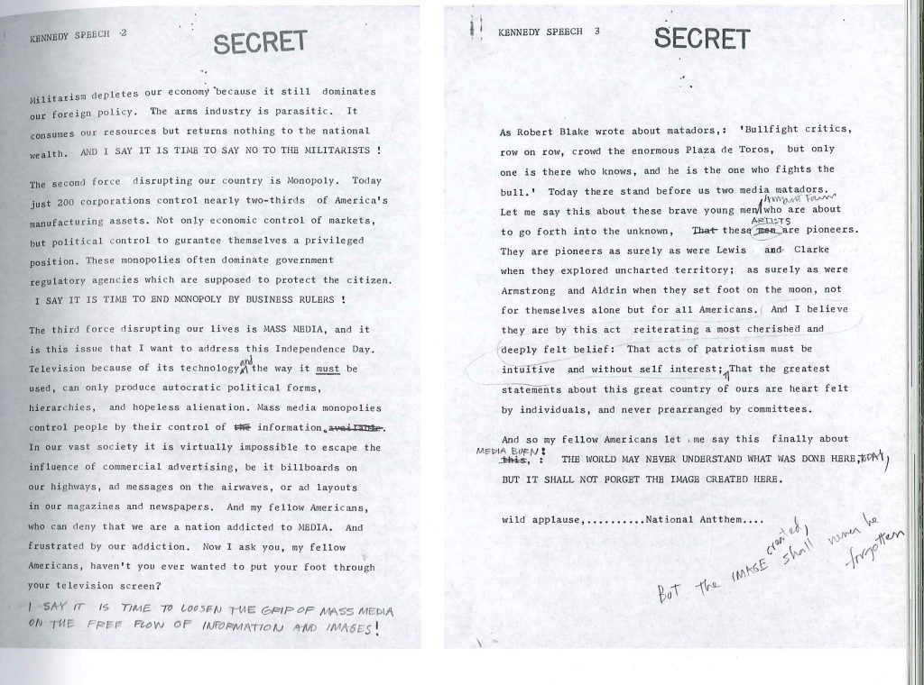 T.R. Uthco & Ant Farm, document tapuscrit « Kennedy Speech » pour Media Burn, 1975, source: Lewallen & al 2004