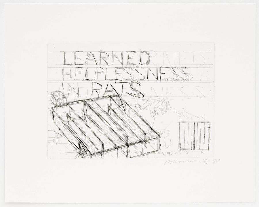Bruce Naumann, Learned Helplessness for Rats, gravure (édition de 35), 1988