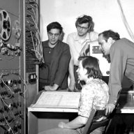 Ramon Sender, Mike Callahan, Morton Subotnick, and Pauline Oliveros at the Tape Music Center